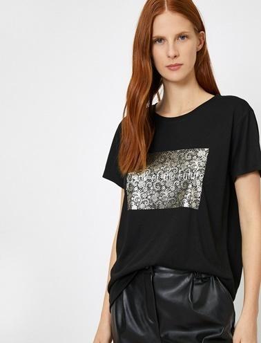 Koton Yazili Baskili T-Shirt Siyah